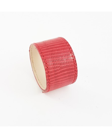 Bracelet manchette lézard rouge
