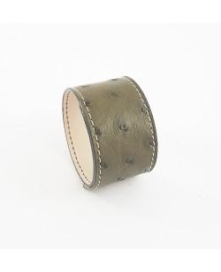 Bracelet manchette autruche kaki