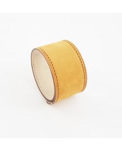 Bracelet manchette veau nubucké moutarde