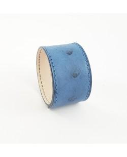 Bracelet manchette autruche bleu