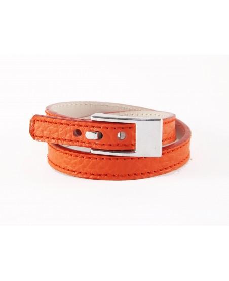 Bracelet double tour veau corail