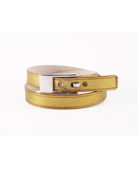 Bracelet double tour veau doré