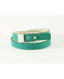 Bracelet veau grainé turquoise