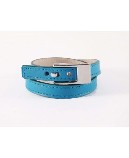 Bracelet double tour veau turquoise