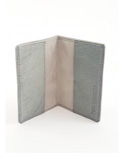 Porte-cartes autruche grise et veau  nubucké gris