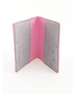 Porte-cartes autruche rose et gris