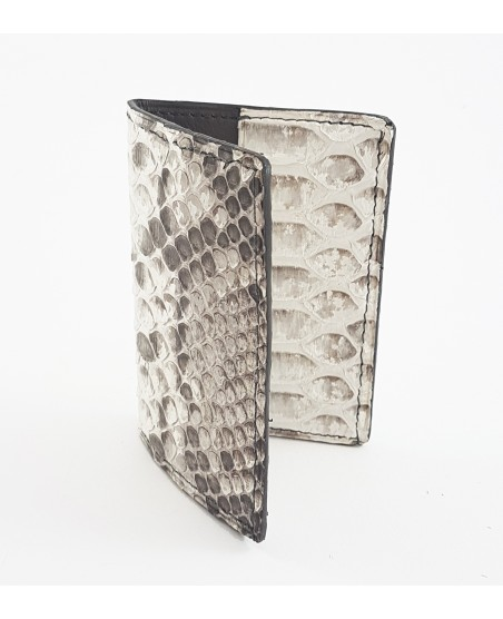 Porte-cartes python naturel mat et veau taupe