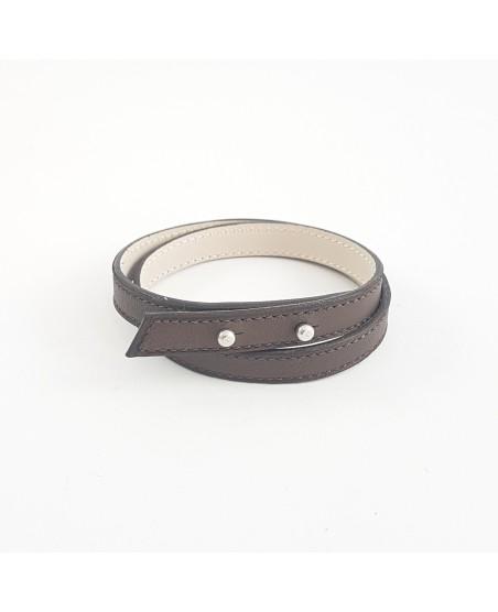 Bracelet double tour veau lisse marron