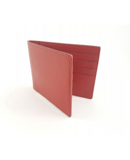 Porte-cartes en veau rouge lisse