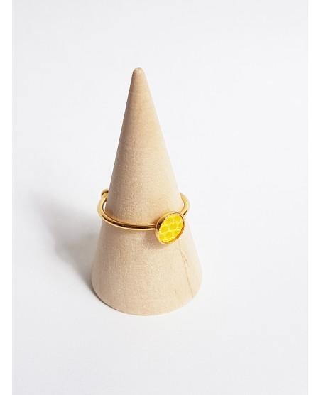 Bague plaquée or et lézard jaune