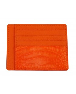 Porte-cartes veau et alligator orange