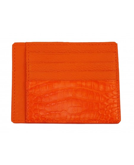 Porte-cartes veau et alligator orange