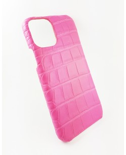 coque Iphone  11 Pro cuir alligator rose fait en france