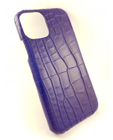 coque Iphone  11 Pro Max cuir alligator bleu fait en france