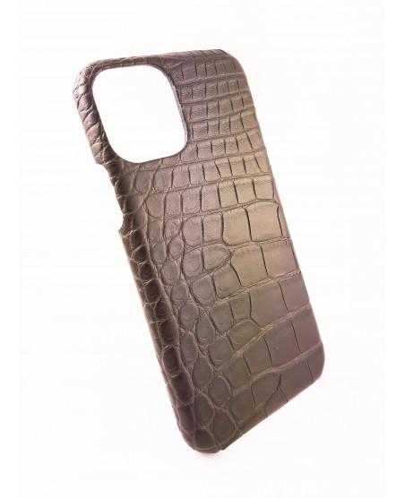 coque Iphone  11 Pro cuir alligator gris taupe fait en France
