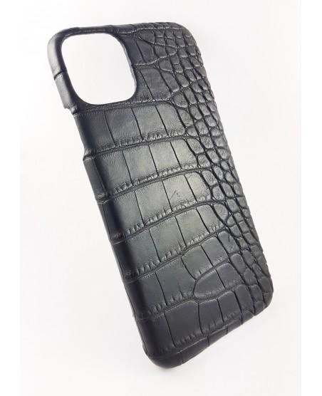 coque Iphone  11 Pro cuir alligator noir fabriqué en France