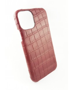 coque Iphone  11 Pro cuir alligator bordeaux fabriqué en France