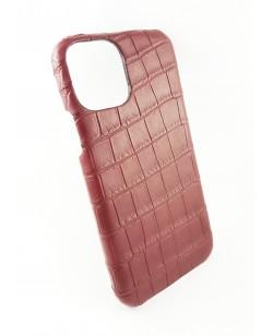 coque Iphone  11 Pro Max cuir alligator bordeaux fabriqué en France