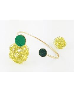 bracelet femme jonc vert