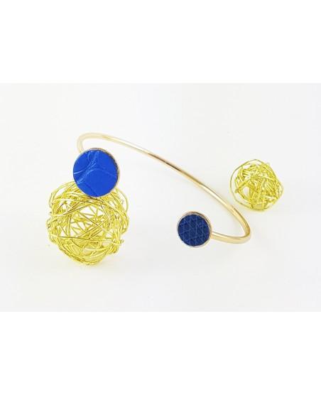 bracelet femme jonc bleu