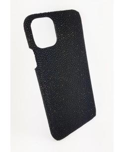 coque Iphone  11 Pro Max cuir galuchat noir et doré fabriqué en France