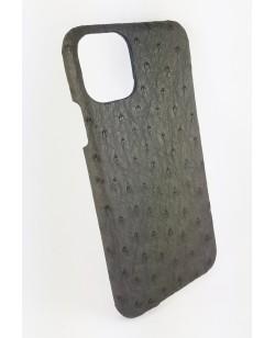 coque Iphone  11 Pro  cuir autruche gris fabriqué en France
