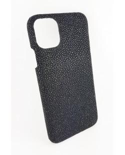 coque Iphone  11 Pro Max cuir galuchat noir fabriqué en France