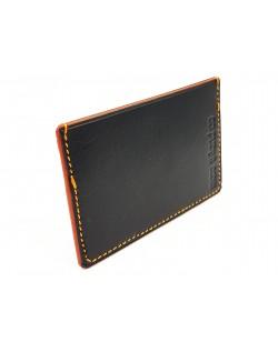 porte cartes veau tannage végétal noir et orange