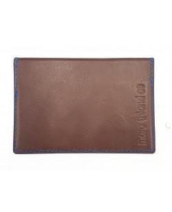 porte cartes veau tannage végétal noir marron et bleu