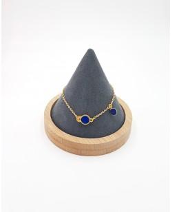 bracelet plaqué or et cuir bleu