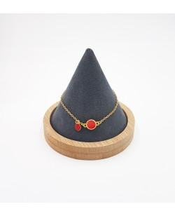 bracelet plaqué or et cuir rouge