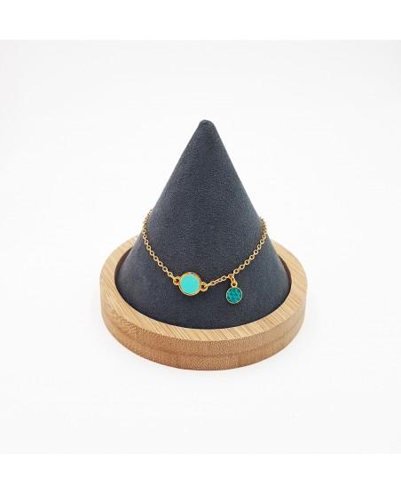 bracelet plaqué or et cuir turquoise