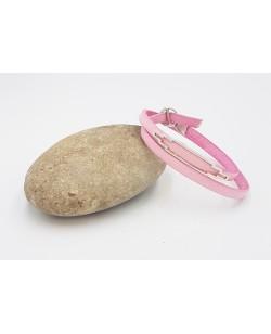 bracelet double tour en cuir rose pale