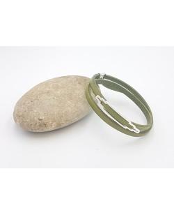 bracelet double tour en cuir vert olive