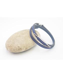 bracelet double tour en cuir bleu roi