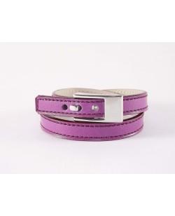 Bracelet double tour veau fushia