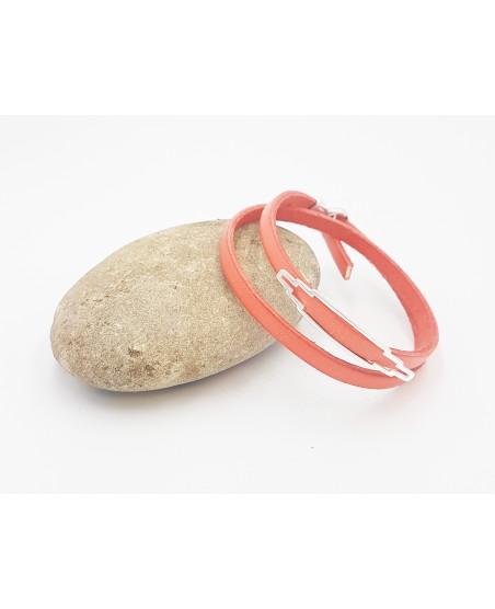 bracelet double tour en cuir corail