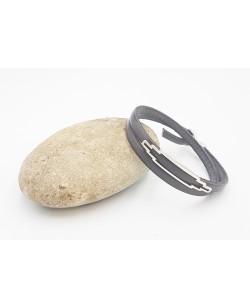 bracelet double tour en cuir gris anthracite
