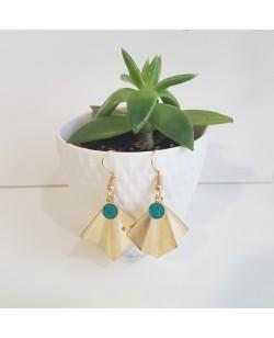 boucles d'oreilles turquoises et plaquées or