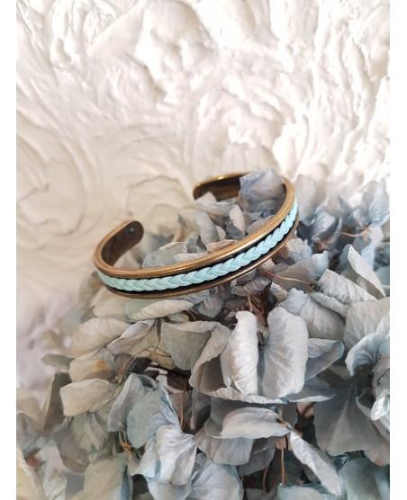 Bracelet jonc rigide bleu ciel