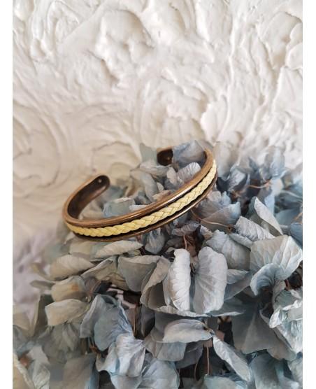 bracelet jonc rigide et cuir tressé jaune