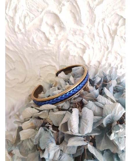 Bracelet jonc rigide et cuir bleu nacré
