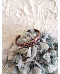 bracelet jonc rigide et cuir tressé violet nacré