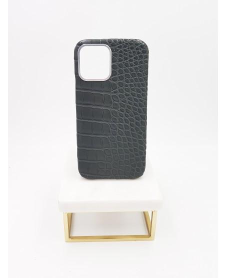 Coque Iphone 12 pro alligator gris anthracite