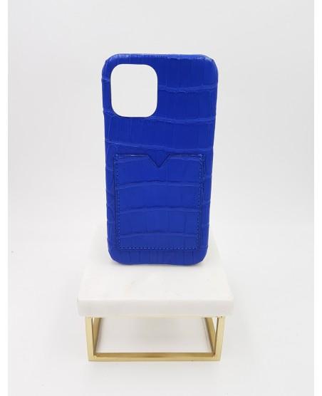 Coque Iphone 12 pro alligator bleu électrique