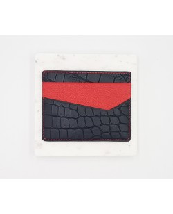 Porte-cartes-alligator noir et rouge