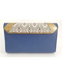 Pochette de soirée veau bleu, doré et tissu